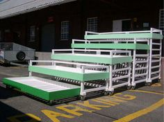 great space saver - these are nested bunk beds that can be set up as a couch, stadium seating, and beds. Very nifty