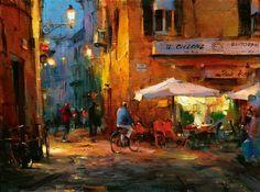 Dmitri Danish Cafe Il Cilcone 18 x 24 in.  Oil