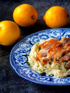 Heerlijke Citroen risotto met gebraden kip. Pasta Recipes, Cooking Recipes, Healthy Recipes, Healthy Food, Gnocchi, Polenta, Quinoa, Good Food, Yummy Food