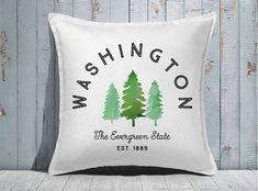 Custom Decorative Pillow | Throw Pillow | Custom Pillow | 20 x 20 Pillow Cover | Custom Pillow Cover | Personalized Pillow | washington