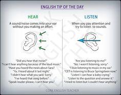 HEAR vs LISTEN #verbs #grammar, #learn #english, #material