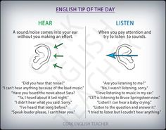 HEAR vs LISTEN #verbs #grammar, #learn #english, #material