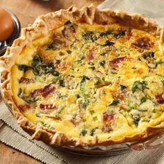 Quiche au camembert, épinards et lardons