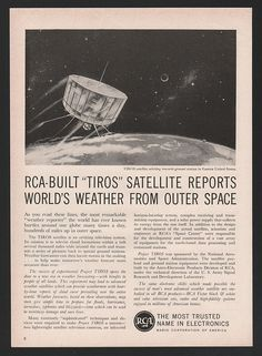 Project Tiros Weather Satellite Outer Space RCA NASA 1960 Art Print Ad