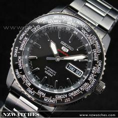 BUY Seiko 5 Automatic World Time Sports Black Watch SRP129J1 c672c71478