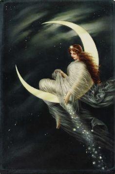 """Mondfee"" by Wagner Vintage Moon, Vintage Art, Moon Dance, Paper Moon, Beautiful Moon, Moon Goddess, Star Art, Moon Art, Stars And Moon"