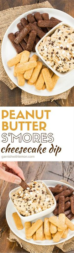 S'mores are the dessert of summer! It's easy to feed them to a crowd with this make ahead, 5 ingredient Peanut Butter S'mores Cheesecake Dip recipe!