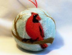 needle felted ornaments christmas   Needle Felted Christmas Ornament - Male Cardinal ...   Christmas felt ...