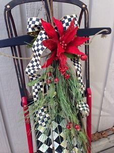 Lot of Items Includes MacKenzie Childs Ribbon, My Yankee Cliper Painted Sled Christmas Sled, All Things Christmas, Christmas Holidays, Christmas Wreaths, Christmas Crafts, Christmas Decorations, Holiday Decor, Xmas, Sled Decor