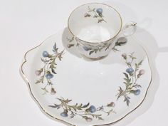 Royal Albert Snack Tray,  English Bone China Tea Cup and Saucer, Tea and Toast, Tea Set, Antique Tea Cups, Snack Set, Brigadoon Thistle by AprilsLuxuries on Etsy