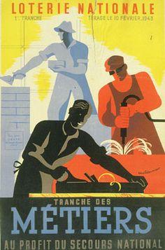 Affiche française pour le tirage de la loterie nationale du 10 février 1943
