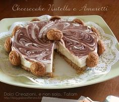 Cheesecake variegata Nutella e amaretti, una golosa e fresca torta, facile da preparare, senza cottura quindi senza accendere il forno, ideale per le ..