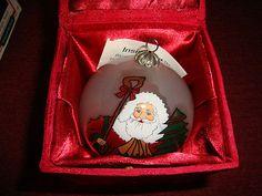 Reverse Glass Painted Blown Glass Santa Ornament