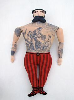 Mimi Kirchner's Tattooed Dolls: I love that she used patterned fabric re-imagined as tattoos