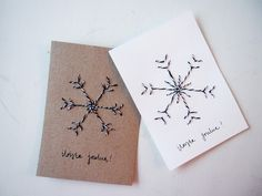 Nämä joulukortit syntyvät helposti, jos vain kaapista löytyy neula ja lankaa! Suunnittele ensin l... Homemade Christmas Cards, Christmas Cards To Make, Christmas Gift Tags, Christmas Wrapping, Xmas Cards, Winter Christmas, Diy Cards, Christmas Tree Ornaments, Christmas Crafts