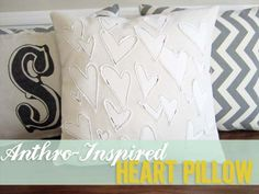 Anthro-inspired heart applique pillow - use beloved old t-shirts for applique fabric?