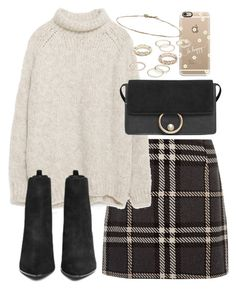 """outfit with a tartan skirt"" by ferned ❤ liked on Polyvore featuring Zara, Ash, MANGO, Casetify and Free People"