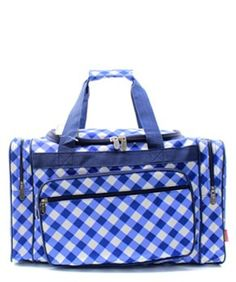 """Plaid Gingham Checkered Navy Blue 20"""" Duffle Gym Bag Sports Carry On Travel Tote"""