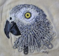 Embroidered Paperclip Parrot