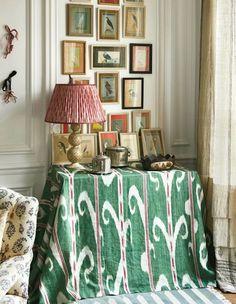 carolina-irving-textiles-home-paris-apartment-ikat-skirted-table-indian-bird-paintings-miniatures.jpg 553×713 pixels