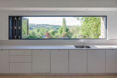 The Larch House - contemporary - Kitchen - South West - Millar Howard Workshop Kitchen Sink Window, Kitchen Sink Design, Home Decor Kitchen, Kitchen Interior, Kitchen Windows, Kitchen Ideas, Küchen Design, House Design, Interior Design