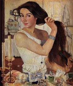 self portrait, Zinaida Serebriakova- this is an old painting, but looks so modern like Norman Rockwell, or even like a Disney character, and has great depth and texture... love her hair hat pins :)