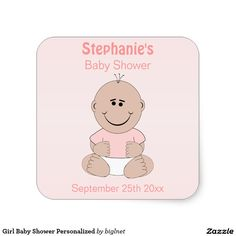 Girl Baby Shower Personalized Square Sticker