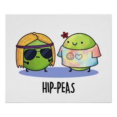 Hip-peas Cute Hippie Peas Pun Poster