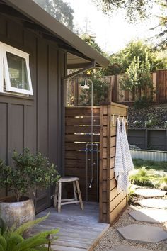 We are designing a way to add privacy to our outdoor shower. Our back patio has an outdoor shower in the corner. We use it all Summer long to wash read the post → about Outdoor Shower Design Plan Outdoor Baths, Outdoor Bathrooms, Outdoor Spaces, Outdoor Living, Outdoor Decor, Outside Showers, Outdoor Showers, Outdoor Shower Enclosure, California Ranch
