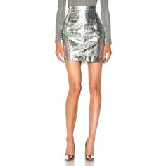 Proenza Schouler Lightweight Metallic Leather Mini Skirt ($1,350) ❤ liked on Polyvore featuring skirts, mini skirts, white leather mini skirt, proenza schouler, mini skirt, genuine leather skirt and white mini skirt