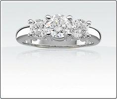 14Kt. White Gold Brilliant-Cut 3 Stone Diamond Ring. 1/2ct. T.W.