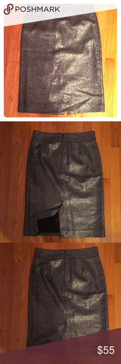 """NWOT J CREW COLLECTION METALLIC TWEED PENCIL SKIRT -NWOT -Gorgeous piece  -Reposh due to size -Metallic tweed material  -See pictures -Fully lined -Back slit and back zipper -Waistband at the top is 15"""" and 16"""" at the bottom of waistband -Hip region is 19"""" and Length is 25"""" J. Crew Skirts Pencil"""