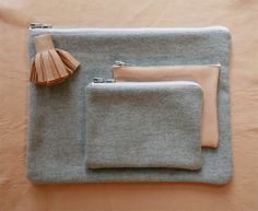 Borders & Frontiers Nude Nappa Leather & Grey Marl Wool Pouches