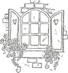 Very pretty pattern of a Window with shutters and Roses to hand embroider Hand Embroidery Patterns, Embroidery Stitches, Embroidery Designs, Doodle Drawings, Doodle Art, Magnolias, Digi Stamps, Coloring Book Pages, Cross Stitch