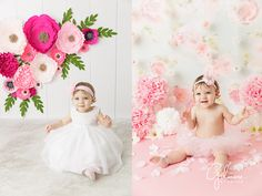 paper flowers, pink floral background, white dress