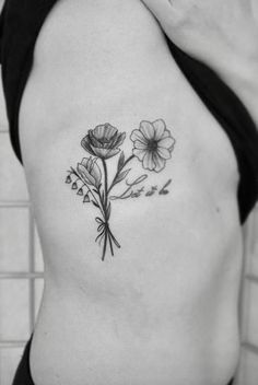 Black and white flower tattoo by @littletattoos808