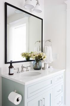 """mirrors made by Bates Art Services AND Pretty cabinet color - Benjamin Moore """"Woodlawn Blue"""" 