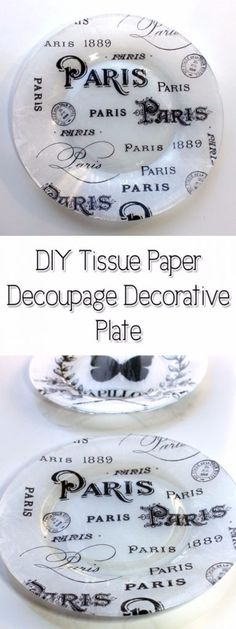 DIY Projects With Old Plates and Dishes - DIY Tissue Paper Decoupage Decorative Plate - Creative Home Decor for Rustic, Vintage and Farmhouse Looks. Upcycle With These Best Crafts and Project Tutorials http://diyjoy.com/diy-projects-plates-dishes