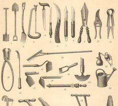 Gardening Tools Antique Engraving to Frame