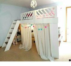 Girls loft bed - The Lost Secret of Dream Rooms for Teens Girls Bedrooms Loft Beds decorincite Cute Bedroom Ideas, Girl Bedroom Designs, Room Ideas Bedroom, Bedroom Loft, Awesome Bedrooms, Bedroom Decor, Bed Ideas, Loft Bed Room Ideas, Bedroom Ideas For Tweens