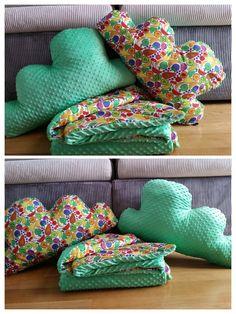 Poduchy chmury i koc - owocowo/kolorowo Pillows & blanket minky