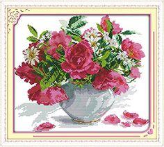 Traumhafte Stickpackung Kreuzstich ROSE & GÄNSEBLÜMCHEN Blumenvase ohne Vorkenntnis mit vorbedruckte Stickvorlage 48 x 43 cm printed cross stitch kit Amyta