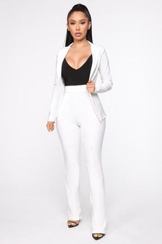 Milan Wide Leg Suit - Off White – Fashion Nova Off White Fashion, Red Fashion, Suit Fashion, Fashion Outfits, Fashion Styles, Ladies Fashion, Velour Jumpsuit, Red Jumpsuit, Cute Outfits For School