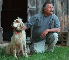 Author Jim Harrison and his dog, Rose, in  1998. | Dave Raczkowski | The Grand Rapids Press