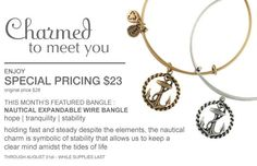 """$23 Alex and Ani – Bangle Bracelets, Necklaces, Earrings and Rings.  The Nautical charm """"holding fast and steady"""". I like that!!  alex and ani <3"""