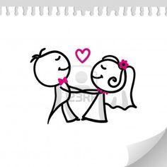 cartoon wedding couple on realistic paper sheet Stock Photo