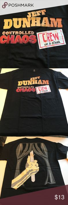 NEW Jeff Dunham controlled chaos Crew t-shirt New without tags, as these shirts made for the band's crew never have tags. It is a men's L. I have lots of crew tour shirts, bundle offers welcome. Hanes Shirts Tees - Short Sleeve
