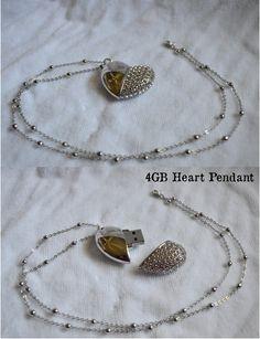 4GB USB Heart Necklace. $25.00, via Etsy.