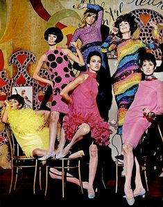 Pierre Cardin fashion (1965)love the dots and the rainbow dresses! Wish i could pull them off. Super fun!