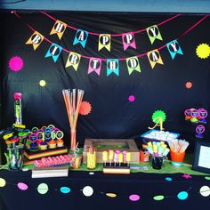 Neon or Glow party Banner by BestPartyEverInc on Etsy Disco Birthday Party, Disco Party, 11th Birthday, Birthday Parties, Birthday Ideas, Candy Bar Party, Neon Party, Neon Glow, Party Planning